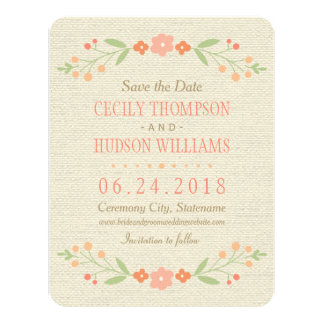 Save the Date Card   Country Florals Pink 11 Cm X 14 Cm Invitation Card