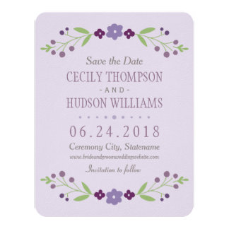 Save the Date Card | Country Florals Purple 11 Cm X 14 Cm Invitation Card