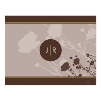 SAVE THE DATE CARD :: floral silhouette landscape Postcard