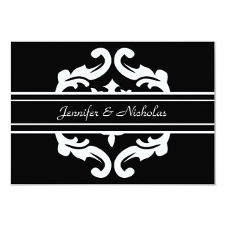 Save the Date Card in Stylish Black & White Damask