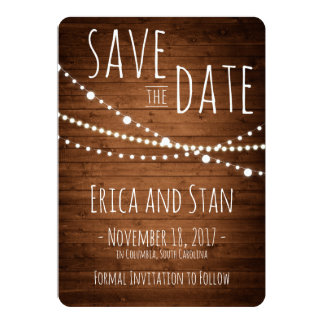 Save the Date Card Lights Trio, Wood 5x7 Rounded