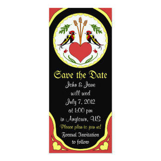 Save the Date Card - Long, Happy Relationship Hex 10 Cm X 24 Cm Invitation Card