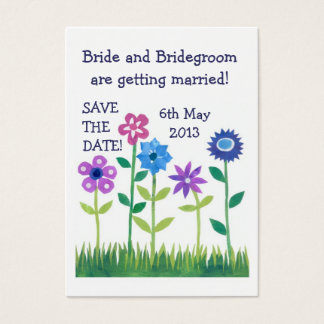 'Save the Date' Card, Pink and Blue Flowers Business Card