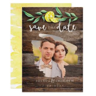 SAVE THE DATE CARD   Rustic Wood Lemon Wedding