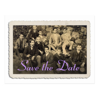 Save the Date card with vintage portrait. Postcard