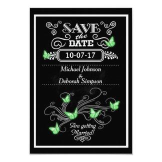 Save The Date Cards Chalkboard Green Butterflies