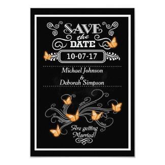 Save The Date Cards Chalkboard Orange Butterflies