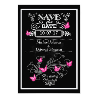 Save The Date Cards Chalkboard Pink Butterflies