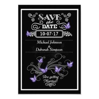 Save The Date Cards Chalkboard Purple Butterflies