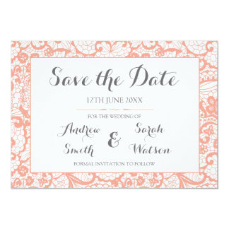 Save the Date cards , Coral Lace Design