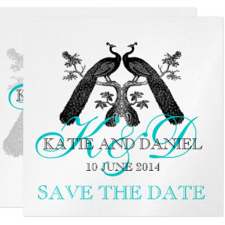 Save the Date Cards Peacocks Monogram SIlver 13 Cm X 13 Cm Square Invitation Card