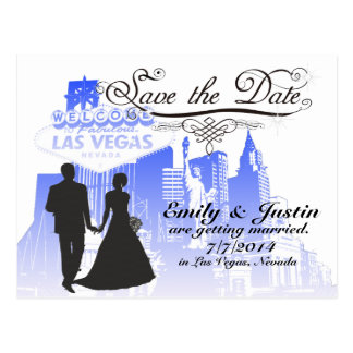 SAVE THE DATE CARDS WITH VIEW OF LAS VEGAS, NEVADA POSTCARD