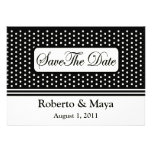Save The Date Centred With Dots & Stripes Card Personalized Invitations