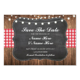 Save The Date Chalk Wood Rustic Red Check Card 9 Cm X 13 Cm Invitation Card