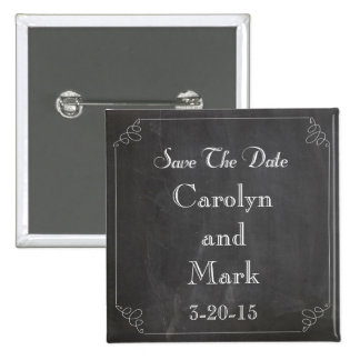 Save the Date, Chalkboard Rustic Vintage Wedding 15 Cm Square Badge