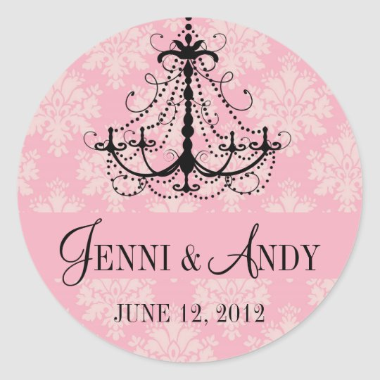 Save the Date Chandelier Names Wedding Sickers Classic