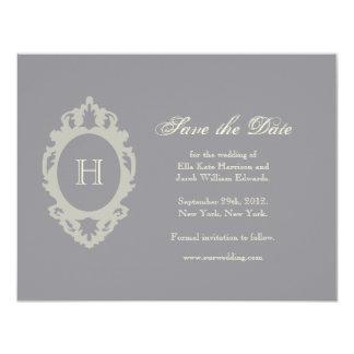 Save the Date // Charcoal & Cream Monogram 11 Cm X 14 Cm Invitation Card