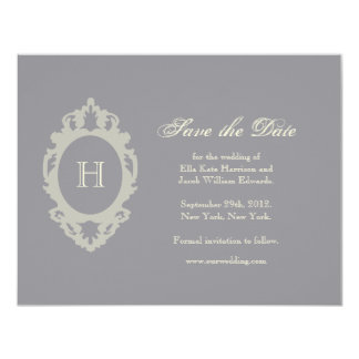 Save the Date // Charcoal & Cream Monogram Card