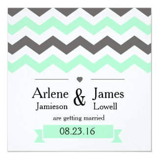 Save the Date, Chevron Pattern, Mint and Grey Card