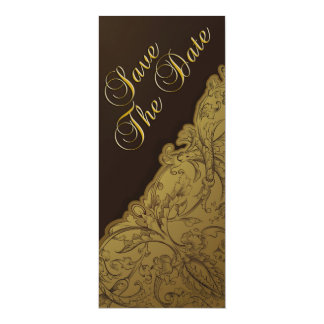 Save The Date - Chocolate & Gold Vintage 10 Cm X 24 Cm Invitation Card