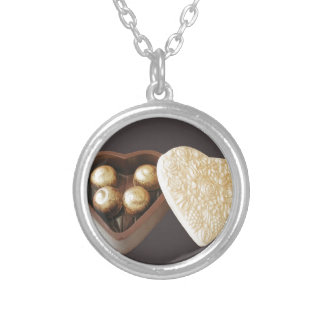 Save The Date Chocolate Hearts Silver Plated Necklace
