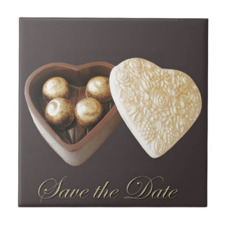 Save The Date Chocolate Hearts Ceramic Tile