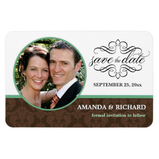 Save the Date Chocolate Mint Damask Photo Magnets