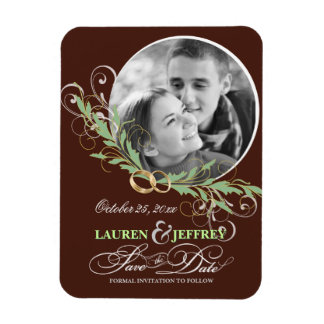 Save the Date Chocolate Mint Vintage Photo Magnets