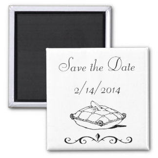 Save the Date Cinderella Slipper Fairytale Art Square Magnet