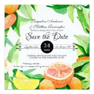 Save the Date Citrus Fruit Leaves Oranges n Lemons Card