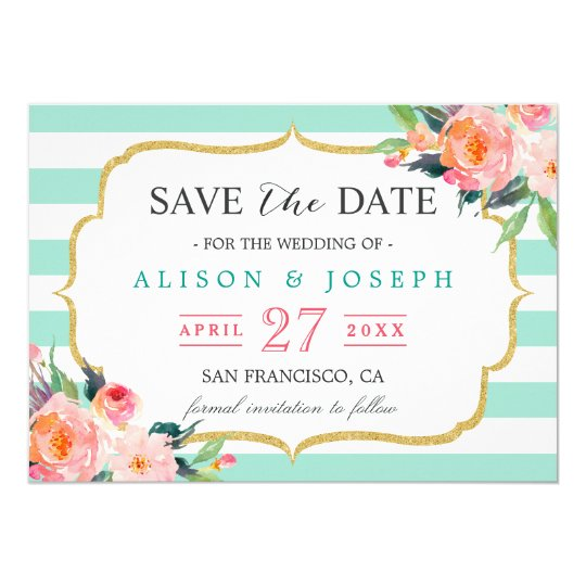 Save The Date   Classy Mint Green Stripes