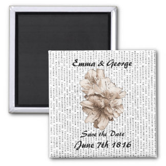 Save the Date Coffee Brown Illustrated Flower Refrigerator Magnet