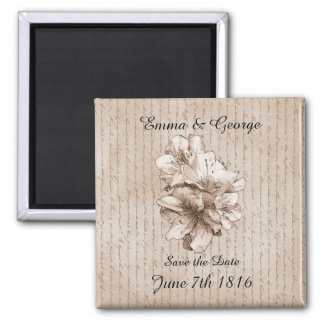 Save the Date Coffee Brown Illustrated Flower Fridge Magnet
