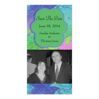 Save the Date Colorful Green Blue Photo Cards