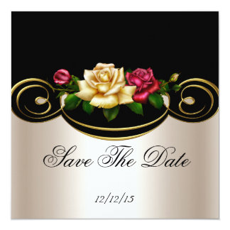 """Save The Date Cream Pink Gold Black Roses 5.25"""" Square Invitation Card"""