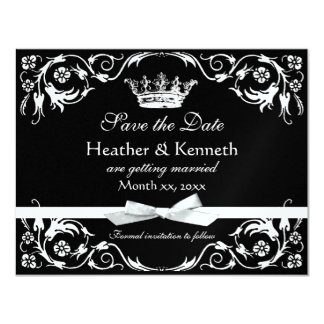 Save the Date Crown Metallic 11 Cm X 14 Cm Invitation Card