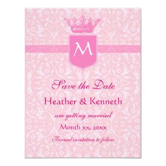 Save the Date Crown Monogram Pink 11 Cm X 14 Cm Invitation Card