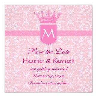 Save the Date Crown Monogram Pink 13 Cm X 13 Cm Square Invitation Card