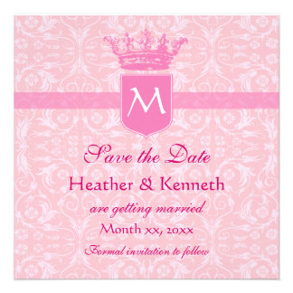 Save the Date Crown Monogram Pink Announcements