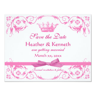 Save the Date Crown Pink 11 Cm X 14 Cm Invitation Card