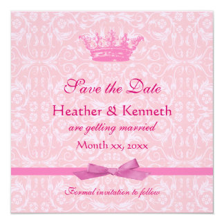 Save the Date Crown Pink 13 Cm X 13 Cm Square Invitation Card
