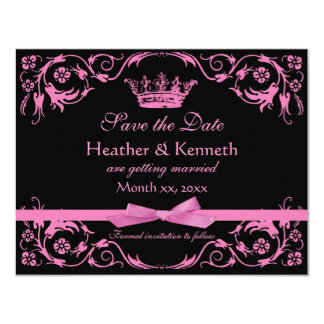 Save the Date Crown Pink Card