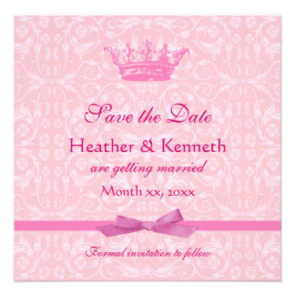 Save the Date Crown Pink Personalized Invitation