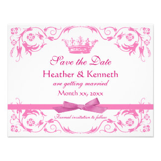 Save the Date Crown Pink Custom Invite