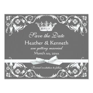 Save the Date Crown White 11 Cm X 14 Cm Invitation Card