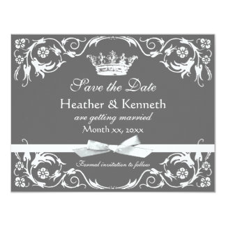 Save the Date Crown White Card