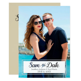 Save The Date Cut Out Text Vertical Photo 13 Cm X 18 Cm Invitation Card