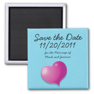 Save the Date Cute Love Heart square Magnet