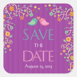 Save the Date Cute Purple Swirl Floral Love Birds Square Sticker