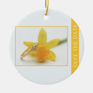 Save the Date Daffodil Spring wedding Christmas Ornament